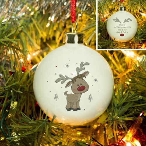 Personalised Little Reindeer Bauble